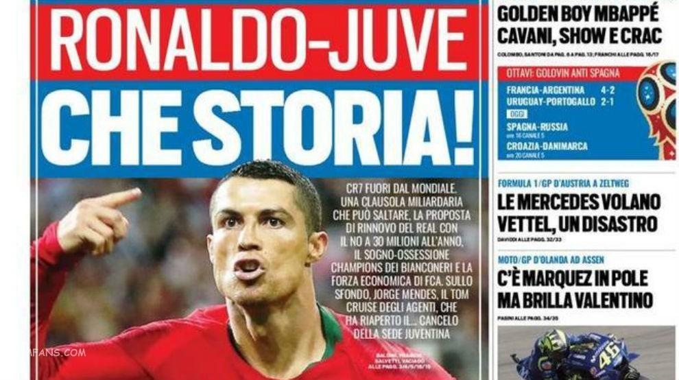 """意大利媒体称C罗的目的地是尤文图斯"""""""